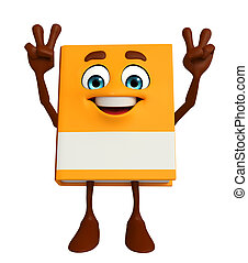 Book Character with victory sign - Cartoon Character of Book...