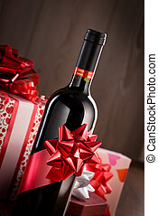 Chistmas gifts and wine bottle - Wine bottle gift with red...