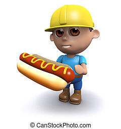 3d Builder eats a tasty hotdog - 3d render of a builder...