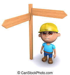 3d Builder has to make a decision - 3d render of a builder...