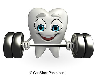 Teeth character with dumbbells - Cartoon character of teeth...