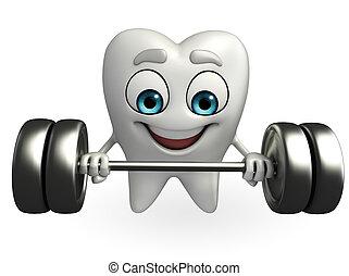 Teeth character with dumbbells - Cartoon character of teeth...