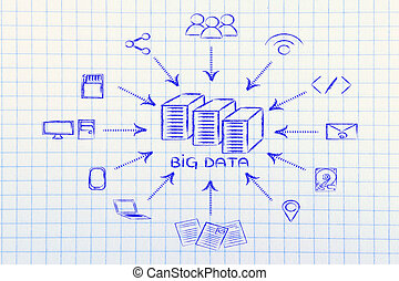 illustration of big data, file transfes and sharing files -...