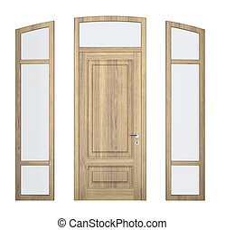 wood doorframe - white wood doorframe on white background....