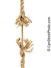 Torn rope isoalted on a white background