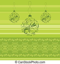 Green ornamental Christmas border - Green border with...
