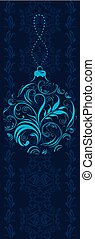 Ornamental Christmas border - Dark blue border with...