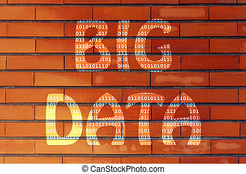 big data illustration, writing with binary code texture -...