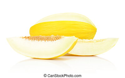 Studio shot of sliced Canary melon isolated white - Studio...
