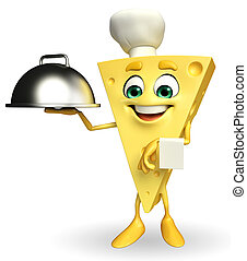 Cheese Character with dish pan - Cartoon Character of Cheese...
