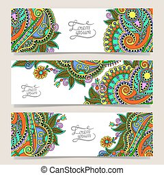 three horizontal banners with decorative ornamental flowers...