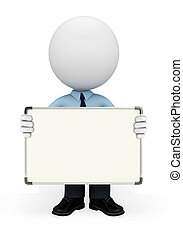 Young service man with display board