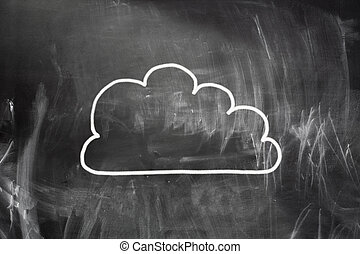 Cloud computing concept. Cloud draw with white chalk on...
