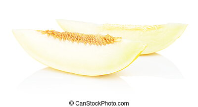 Studio shot slice Canary melon isolated white - Studio shot...