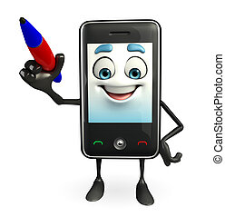 Mobile character with pen - Cartoon Character of Mobile with...