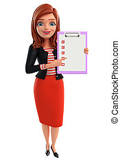 Young Corporate lady with notepad - Illustration of...