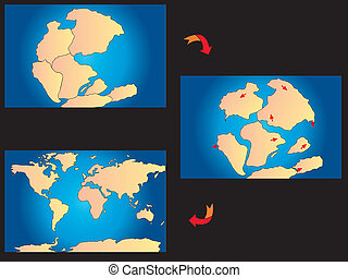 creation of the continents - illustration of creation of the...