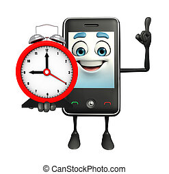 Mobile character with table clock - Cartoon Character of...