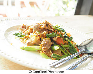 Pad See Ew, Stir fried flat noodle and pork with preserved...