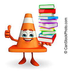 Construction Cone Character with pile of books - Cartoon...