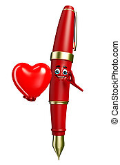 Pen Character with red heart - Cartoon Chatacter of Pen with...