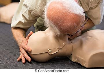 First aid CPR seminar. - Seniror first aid student...