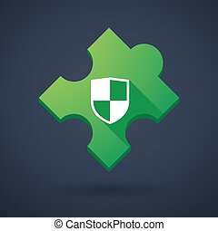 Puzzle piece icon with a shield