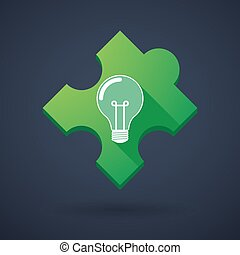 Puzzle piece icon with a light bulb