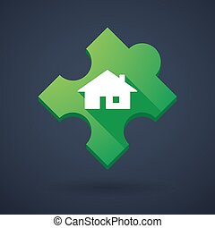 Puzzle piece icon with a house