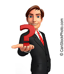 Young Business Man with question mark