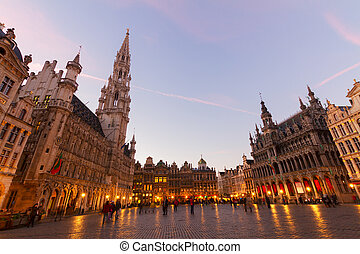 Grand Place And Town Square, Brusseles - View of illuminated...