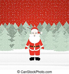 Santa Claus in a Christmas forest