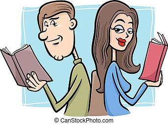 couple in love cartoon illustration - Cartoon Illustration...