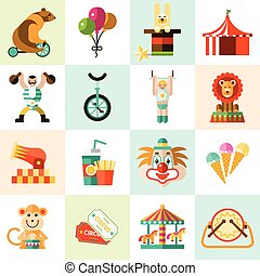 Circus icons set - Circus entertainment flat icons set with...