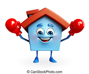 House character with boxing gloves - Cartoon Charcter of...
