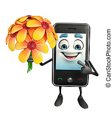 Mobile character with flower - Cartoon Character of Mobile...