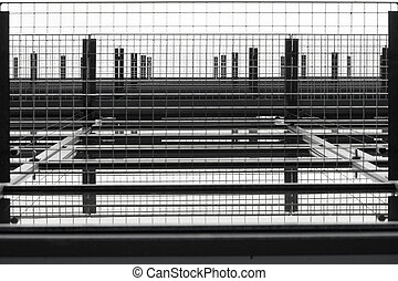 Grid - The bottom view of a grid at a window facade.