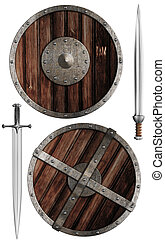 wooden vikings' shields and swords collection isolated