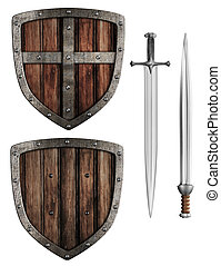 jogo, antigas, escudo, madeira, espadas, isolado, medieval,...
