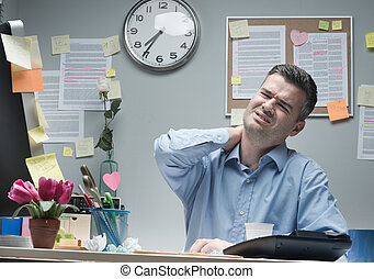 Businessman with neck pain - Tired businessman sitting at...