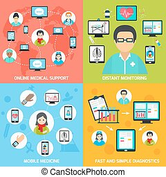 Mobile health icons set flat - Mobile health online medical...