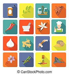 Spices icons flat - Herbs and spices flat icons set of...
