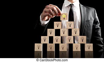 Businessman in Creative Light Concept