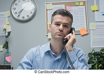 White collar on the phone - Pensive white collar on the...