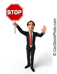 Young Business Man with Stop sign - Illustration of Young...