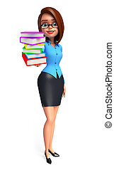 Young office girl with book pile - Illustration of young...