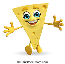 Cheese Character is running - Cartoon Character of Cheese is...