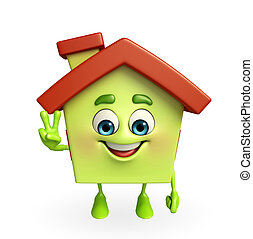 House character with victory sign - Cartoon Charcter of...