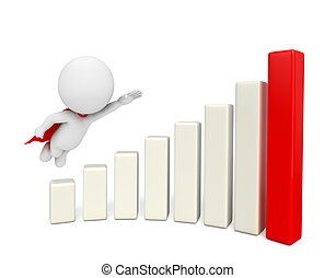 super white character with business graph - Illustration of...