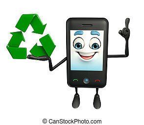 Mobile character with recycle icon - Cartoon Character of...